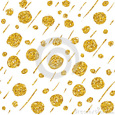 Free Hand Drawn Dotted Seamless Gold Glitter Pattern. Brush Circles And Dots Seamless Pattern, Vector Illustration Royalty Free Stock Photography - 65471807