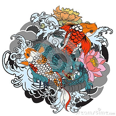 Free Hand Drawn Dragon And Koi Fish With Flower Tattoo For Arm, Japanese Carp Line Drawing Coloring Book Vector Image. Royalty Free Stock Photos - 99504698