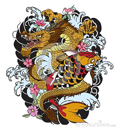Free Hand Drawn Dragon And Koi Fish With Flower Tattoo For Arm, Japanese Carp Line Drawing Coloring Book Vector Image. Royalty Free Stock Image - 99506776