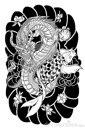 Free Hand Drawn Dragon And Koi Fish With Flower Tattoo For Arm, Japanese Carp Line Drawing Coloring Book Vector Image.Dragon And Koi Fi Stock Photography - 99504192