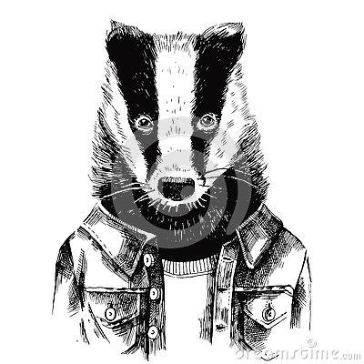 Free Hand Drawn Dressed Up Badger In Hipster Style Royalty Free Stock Photos - 77895148