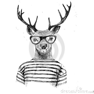 Free Hand Drawn Dressed Up Deer Royalty Free Stock Photos - 56108098