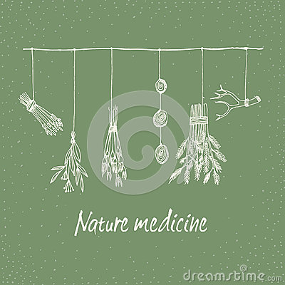 Free Hand Drawn Dry Herb And Plants Garland Illustration In . Royalty Free Stock Photo - 72588695