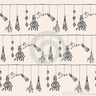 Free Hand Drawn Dry Herb And Plants Garland Illustration In . Royalty Free Stock Photo - 72588855