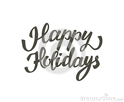 Hand drawn elegant lettering of Happy Holidays. Isolated on white background Cartoon Illustration