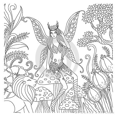 Free Hand Drawn Fairy Playing In The Forest For Coloring Book For Adult Stock Photography - 63057522