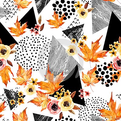 Free Hand Drawn Falling Leaf, Doodle, Water Color, Scribble Textures For Fall Design. Royalty Free Stock Photo - 100638705