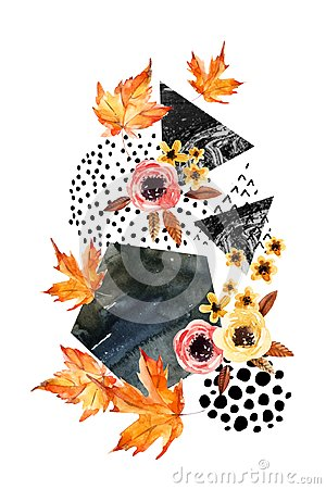 Free Hand Drawn Falling Leaf, Doodle, Water Color, Scribble Textures For Fall Design. Stock Image - 100638731