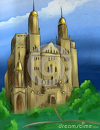 Hand drawn fantasy castle
