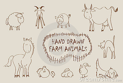 Hand drawn farm animals set