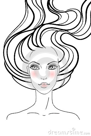 Hand-drawn Fashion Female Portrait Royalty Free Stock Images - Image: 25351109