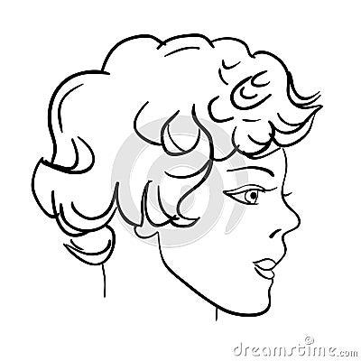 Hand-drawn fashion model. Man face
