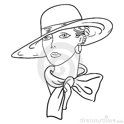 Hand-drawn fashion model. Woman s face