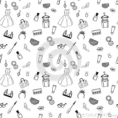 Adult Coloring Pages Patterns : Hand drawn fashion seamless pattern for adult coloring pages stock