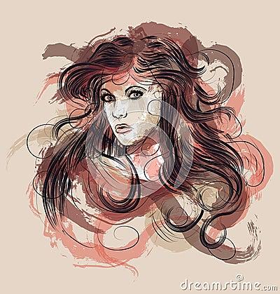 Hand drawn fashion sketch of woman