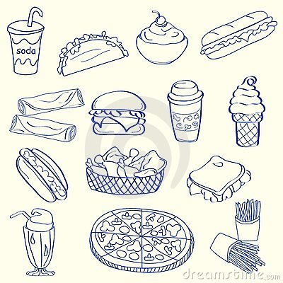 Hand Drawn Fast Food Icon Set