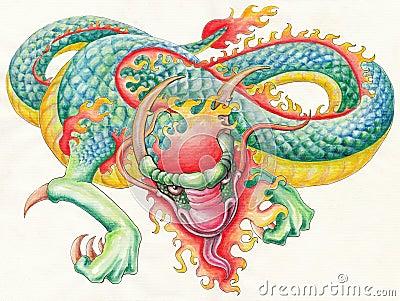 Hand drawn Fire Dragon