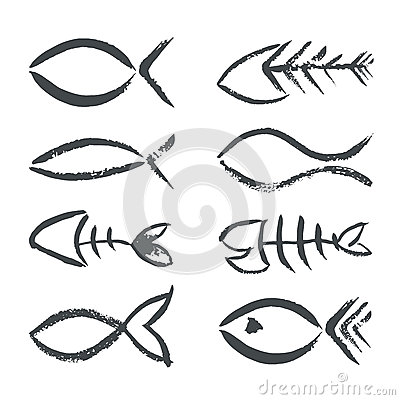 Hand drawn fish symbols