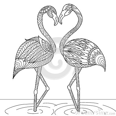 Free Hand Drawn Flamingo Couple Zentangle Style Royalty Free Stock Photos - 62857178