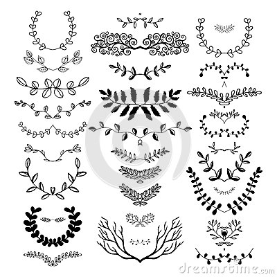 hand drawn floral borders dingbats dividers wreaths
