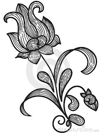 Hand drawn floral design element