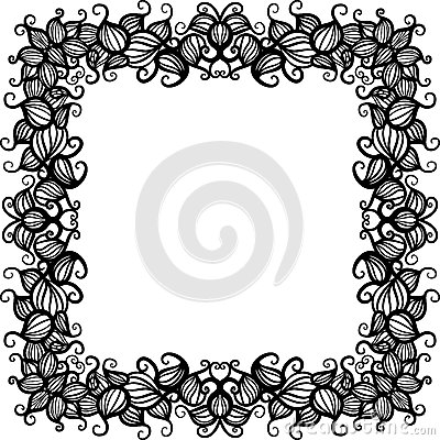 Hand drawn floral pattern frame