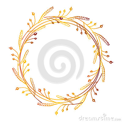 Free Hand Drawn Floral Wreath Royalty Free Stock Photography - 76235267