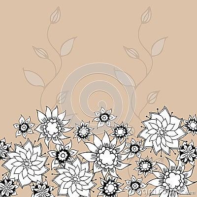 Hand-Drawn Flower Greeting Card.
