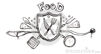 Food icon logo drawing