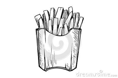 Hand drawn french fries. Fast food, junk food icon. Vector Illustration