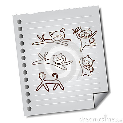Hand-drawn funny cat on paper note
