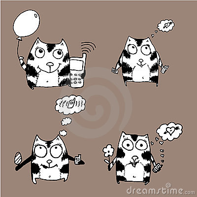 Hand drawn funny cats