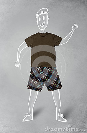 Hand drawn funny character in casual clothes Stock Photo