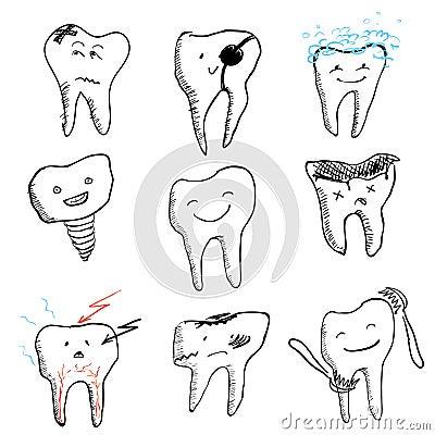 Hand drawn funny teeth