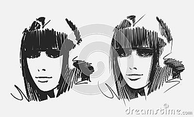 Hand drawn girl portraits