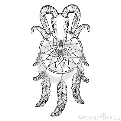 Free Hand Drawn Goat Skull Doodle Vector Illustration. Dotwork Fullfa Royalty Free Stock Photos - 58757188