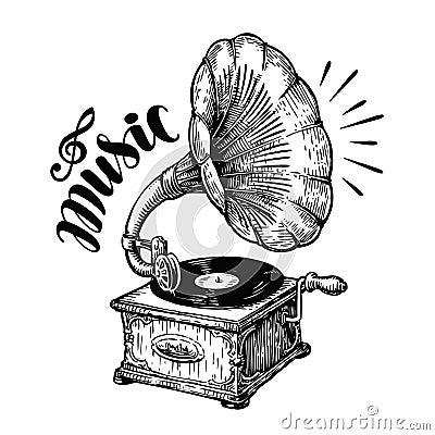 Hand drawn gramophone, sketch. Music, nostalgia symbol. Vintage vector illustration Vector Illustration