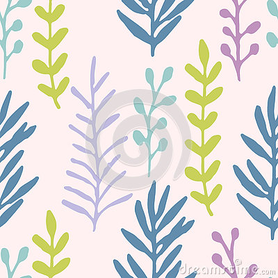 Free Hand Drawn Grass Field, Branches Pastel Blue, Green, Violet Seamless Pattern. Floral Pattern. Stock Images - 77158224