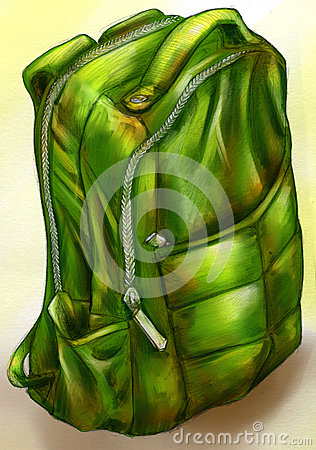Hand drawn green backpack