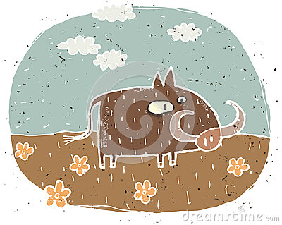 Hand drawn grunge illustration of cute warthog on background wit