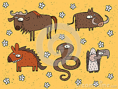 Hand drawn grunge illustrations set of gnu, warthog, hyena, cobr