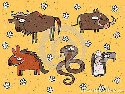 Hand drawn grunge illustrations set of gnu, warthog, hyena, cobr