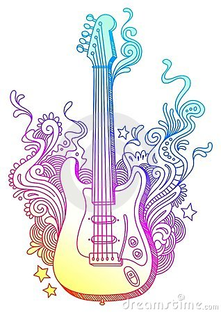 Free Hand Drawn Guitar Stock Photo - 10201310
