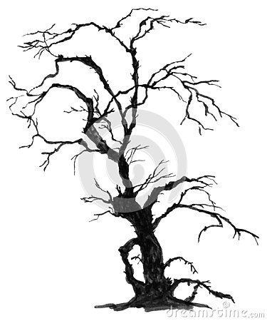 Hand drawn halloween tree. Haunted Forest. Cartoon Illustration