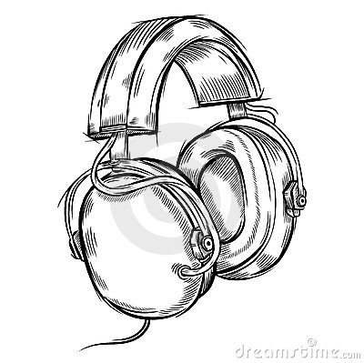 Hand-drawn headphones