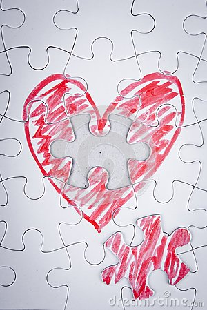 Free Hand Drawn Heart In A Puzzle Royalty Free Stock Photography - 104792637