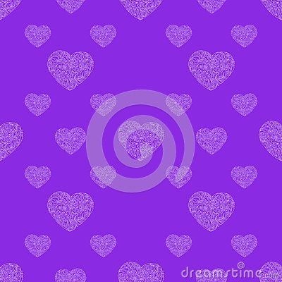 Hand drawn heart seamless pattern. Vector illustration Vector Illustration