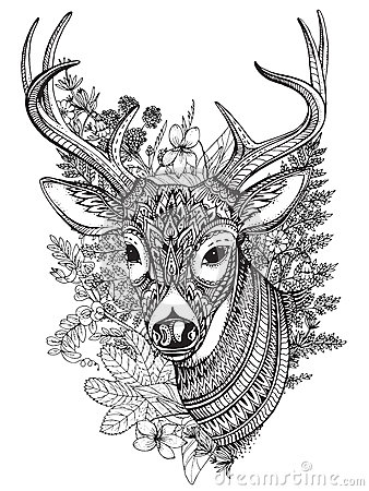 Hand Drawn Horned Deer With High Details Ornament Stock