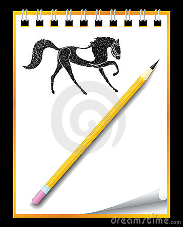 Hand drawn horse in notebook