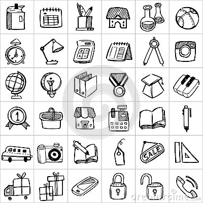 Free Hand Drawn Icons 002 Royalty Free Stock Photo - 77654745
